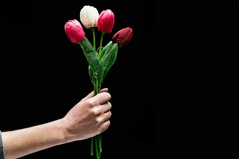 Hand hält einen Strauß Blumen